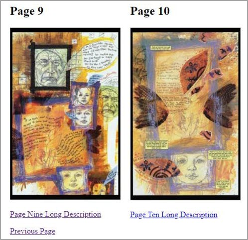 Each complex imagery on pages 9 and 10 provides a link to Page Nine Long Description and Page Ten Long Description. The following text elaborates in detail about the complex image from page nine.