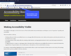 screenshot of a web browser toolbar with the accessibility bookmarkets installed