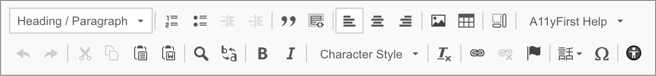 screenshot of A11yFirst-recommended CKEditor toolbar emphasizing block element editing features